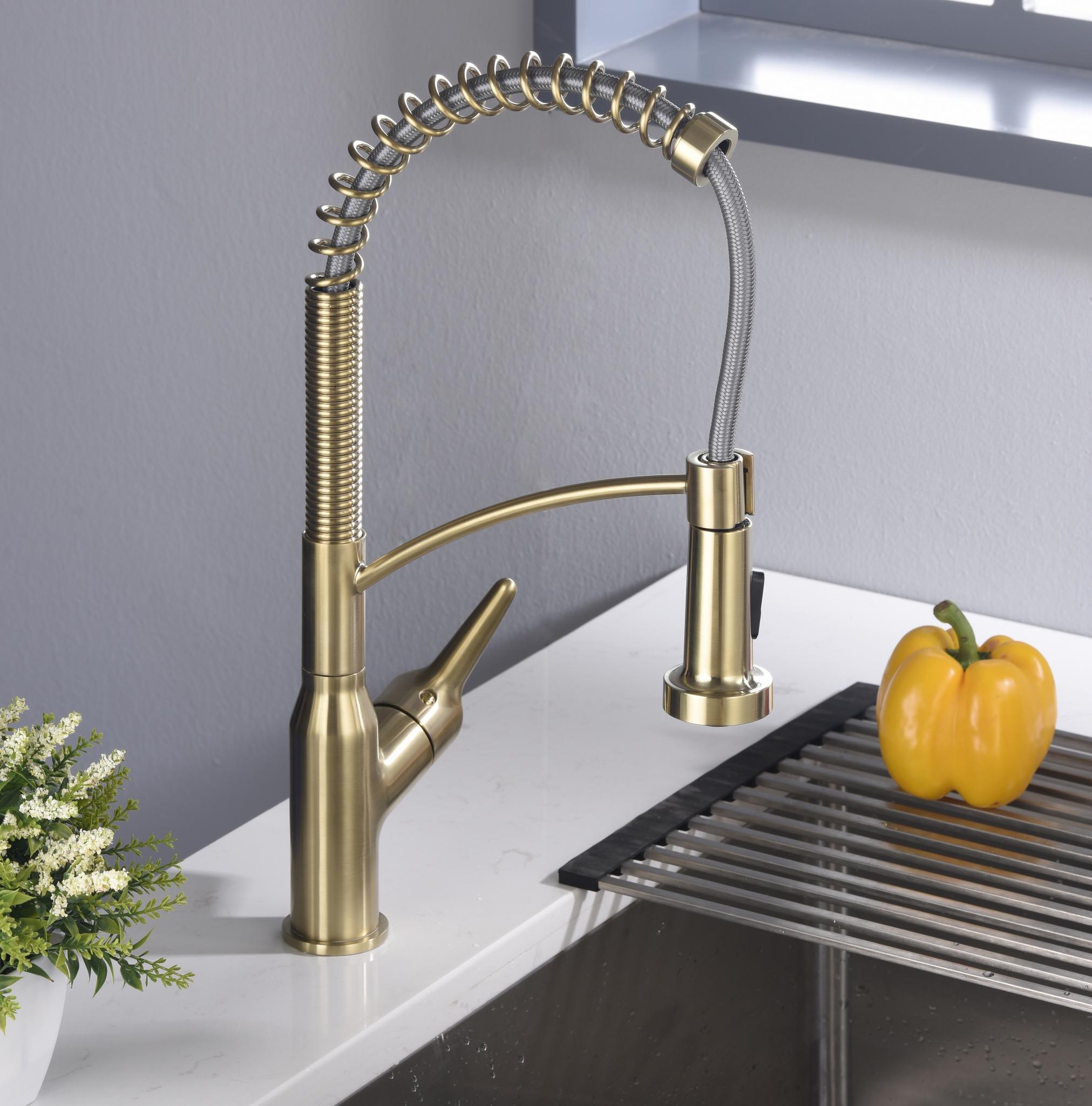 Karran Scottsdale Single Lever Handle Lead-free Brass ADA Kitchen Faucet, Pull Down, Brushed Gold, KKF210BG