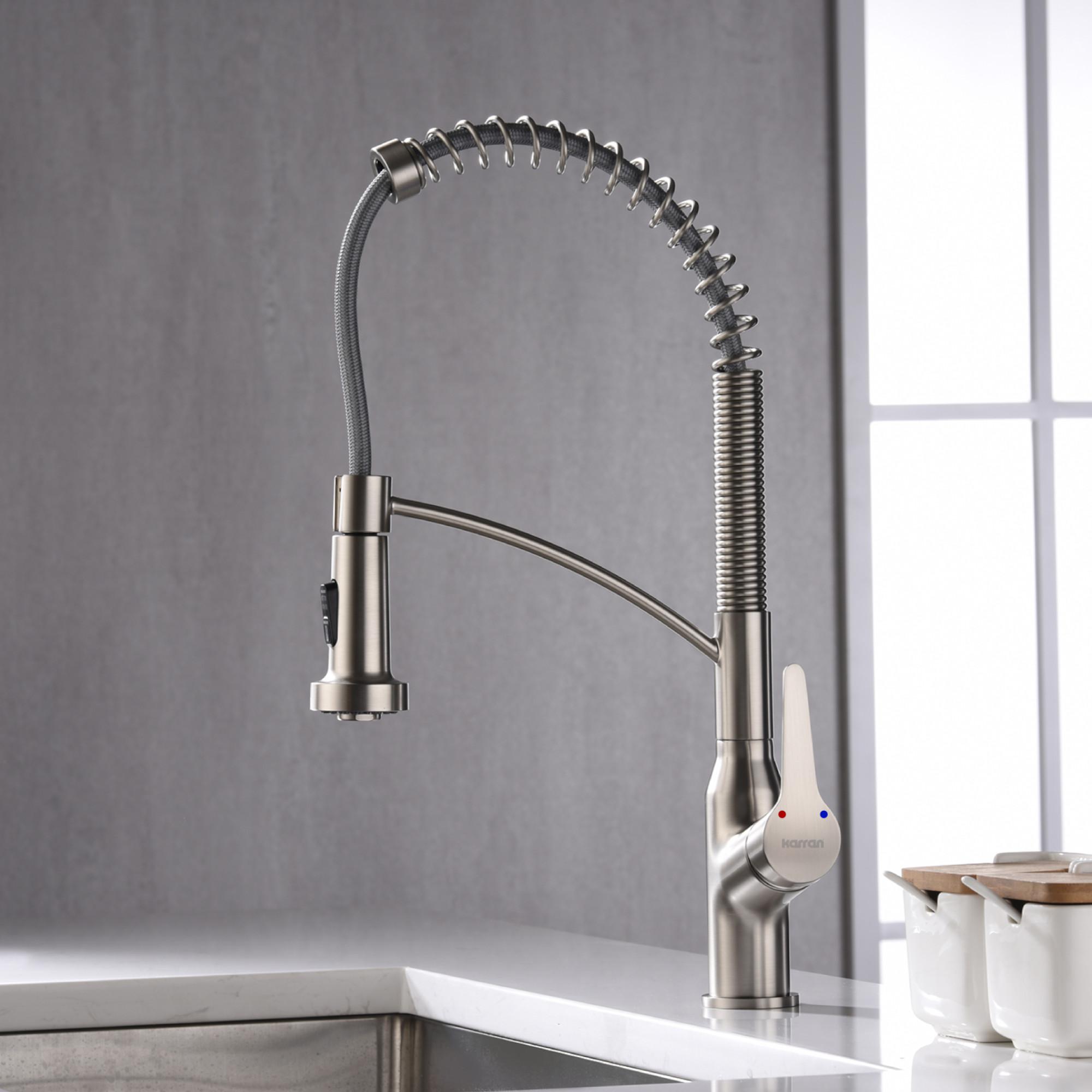 Karran Scottsdale Single Lever Handle Lead-free Brass ADA Kitchen Faucet, Pull Down, Stainless Steel, KKF210SS