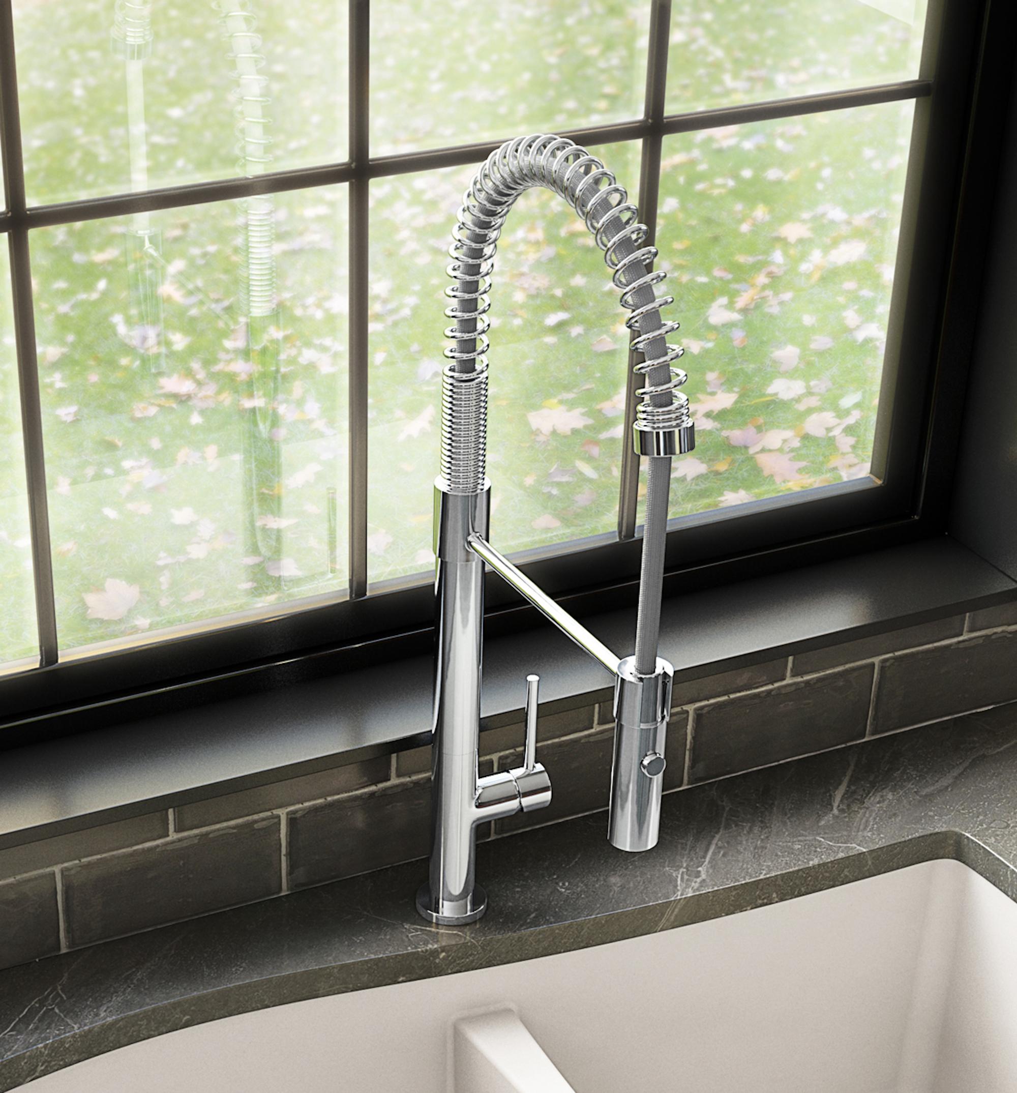 Karran Bluffton Single Lever Handle Lead-free Brass ADA Kitchen Faucet, Pull Down, Chrome, KKF220C