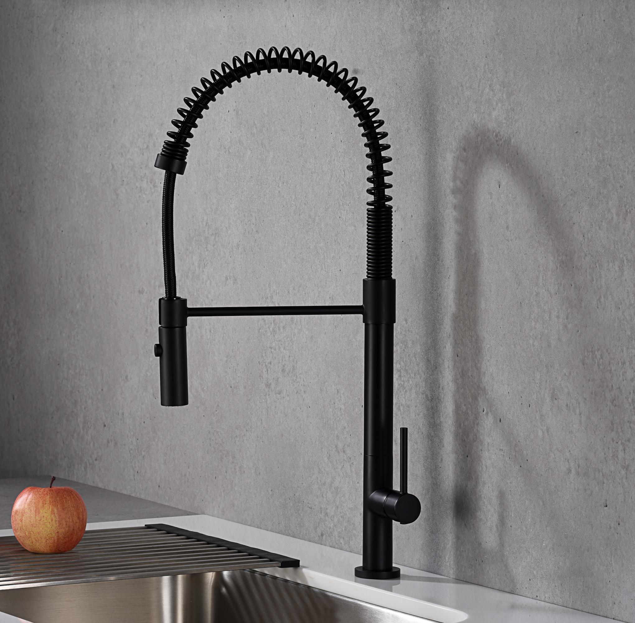 Karran Bluffton Single Lever Handle Lead-free Brass ADA Kitchen Faucet, Pull Down, Matte Black, KKF220MB