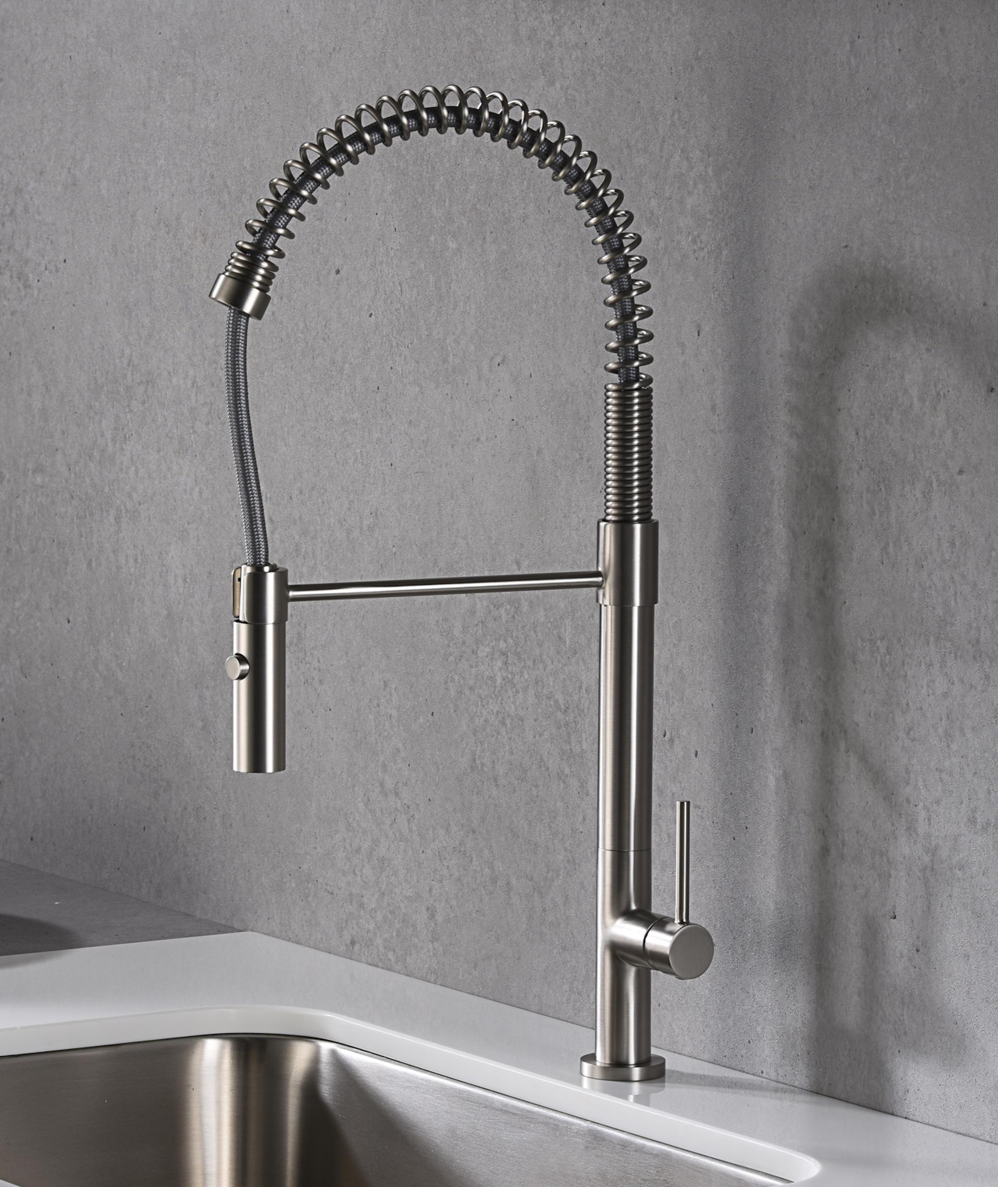 Karran Bluffton Single Lever Handle Lead-free Brass ADA Kitchen Faucet, Pull Down, Stainless Steel, KKF220SS