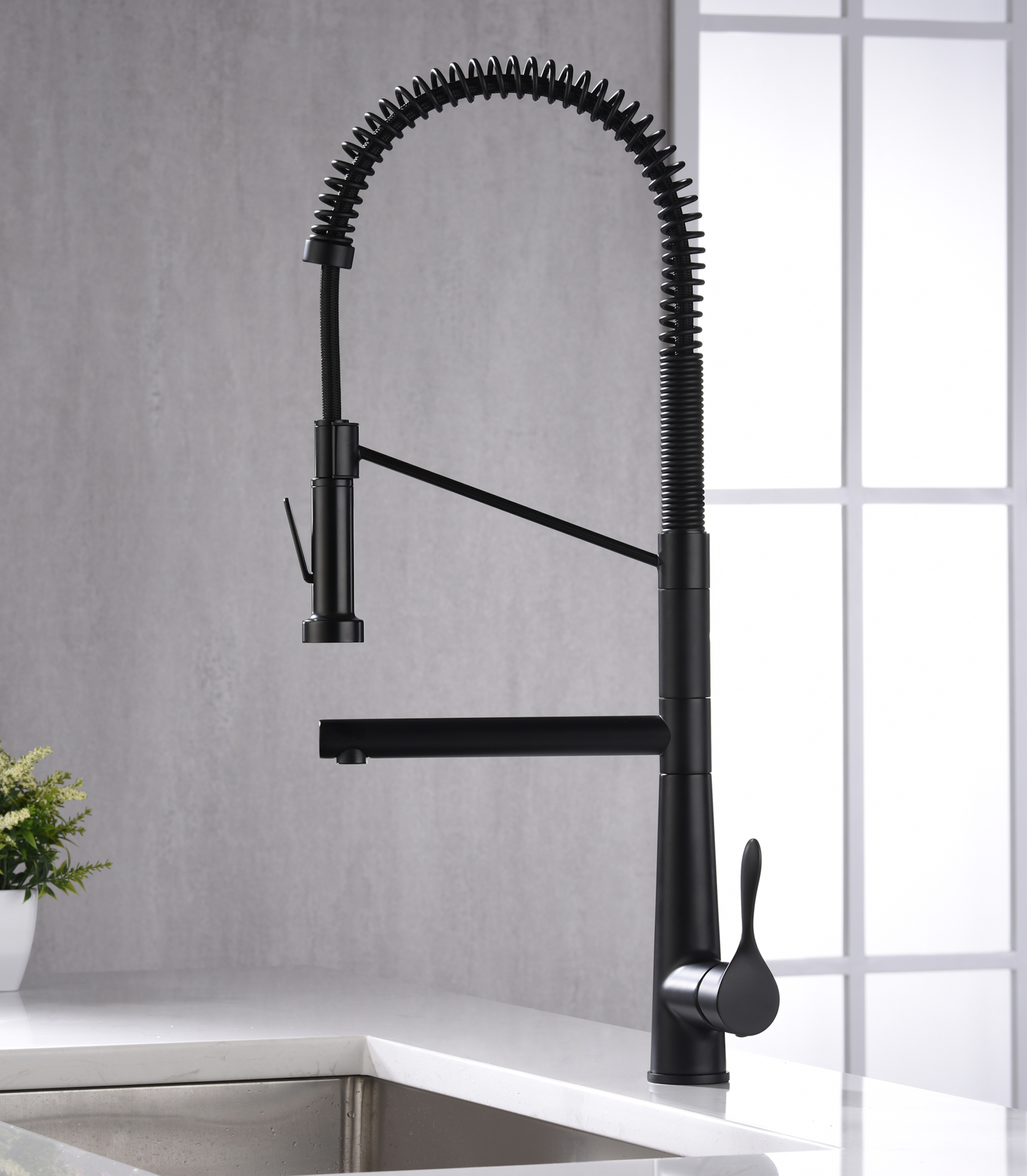 Karran Tumba Single Lever Handle Lead-free Brass ADA Kitchen Faucet, Pull Down, Matte Black, KKF230MB