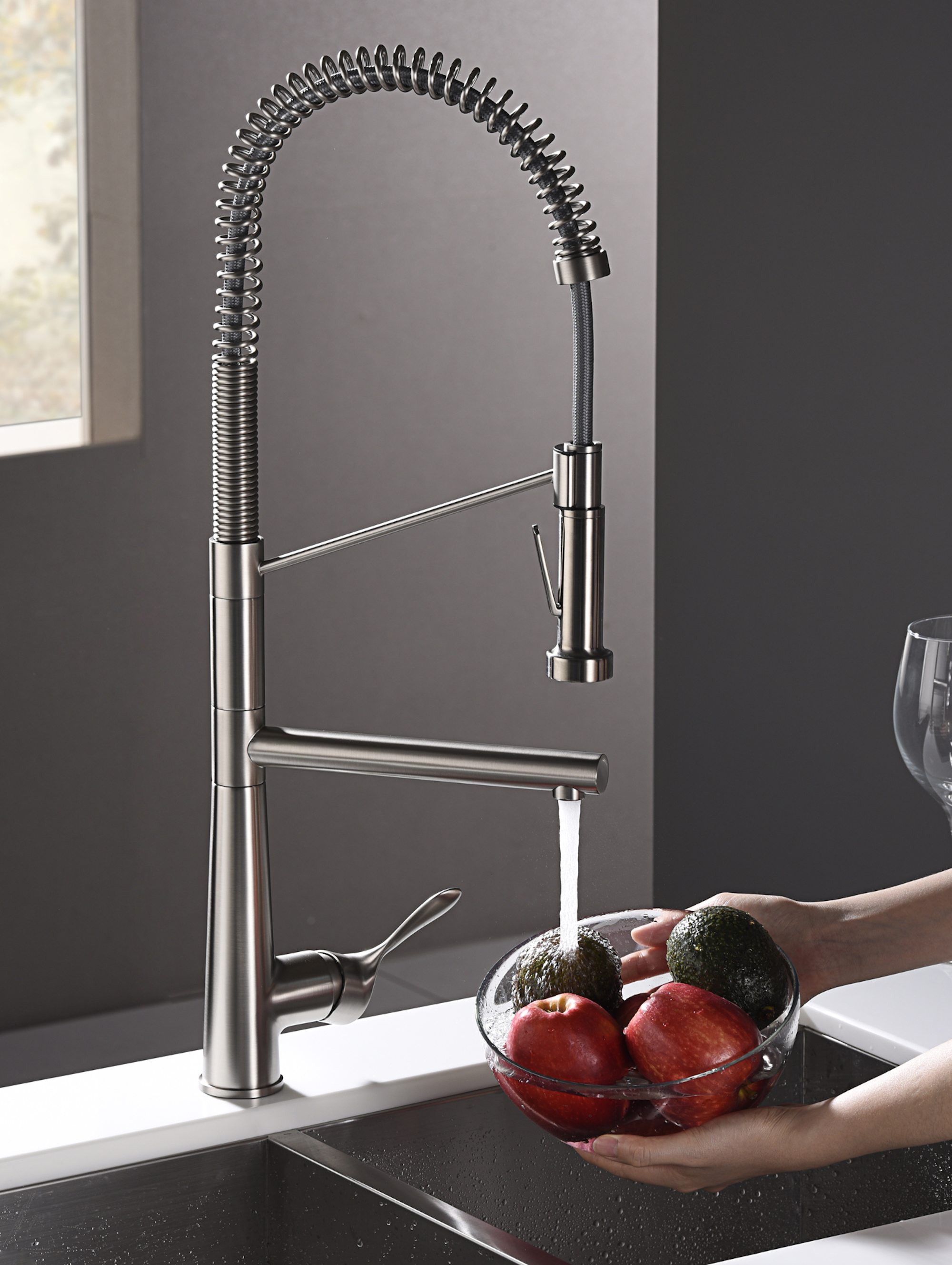 Karran Tumba Single Lever Handle Lead-free Brass ADA Kitchen Faucet, Pull Down, Stainless Steel, KKF230SS