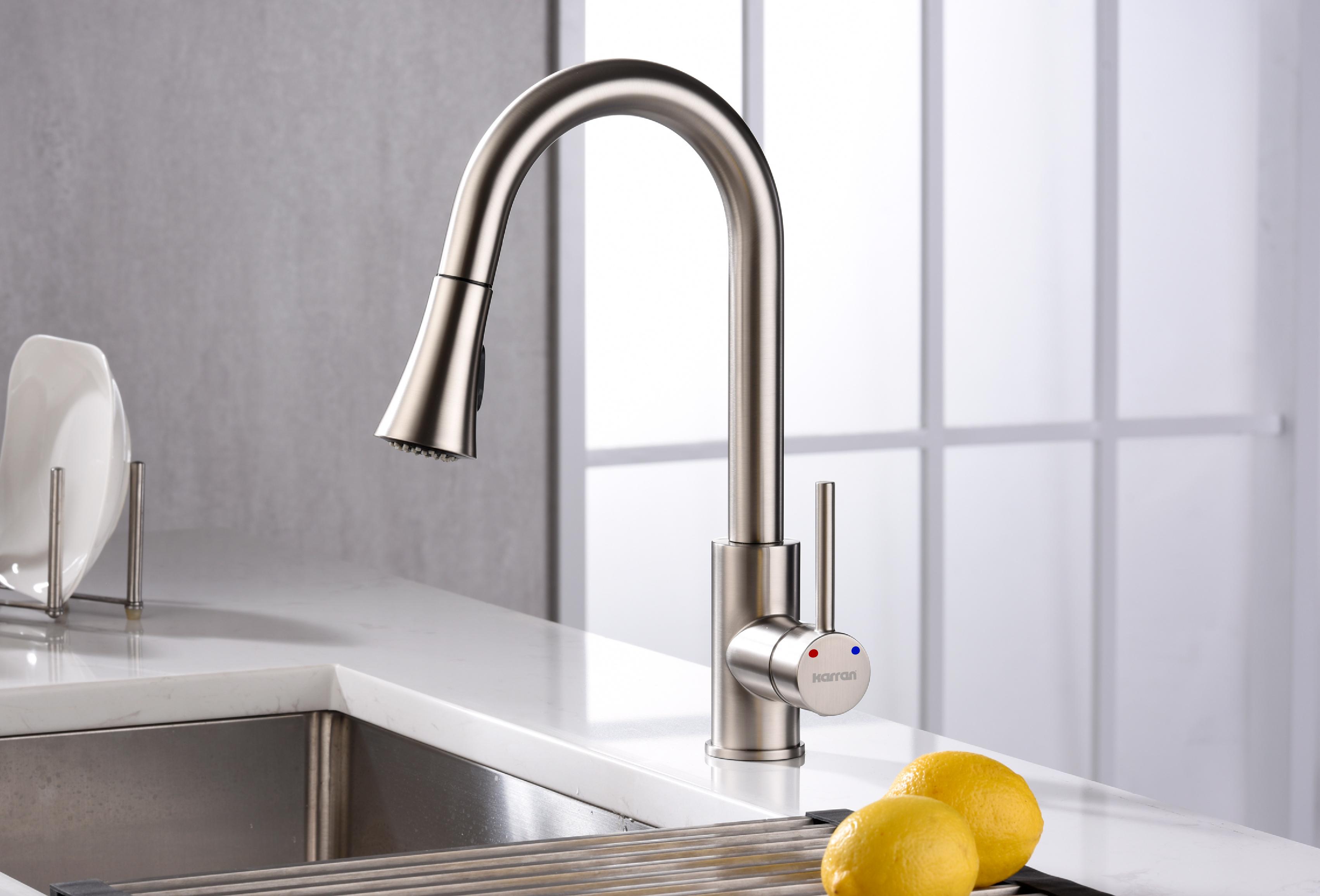 Karran Weybridge Single Lever Handle Lead-free Brass ADA Kitchen Faucet, Pull Down, Stainless Steel, KKF240SS