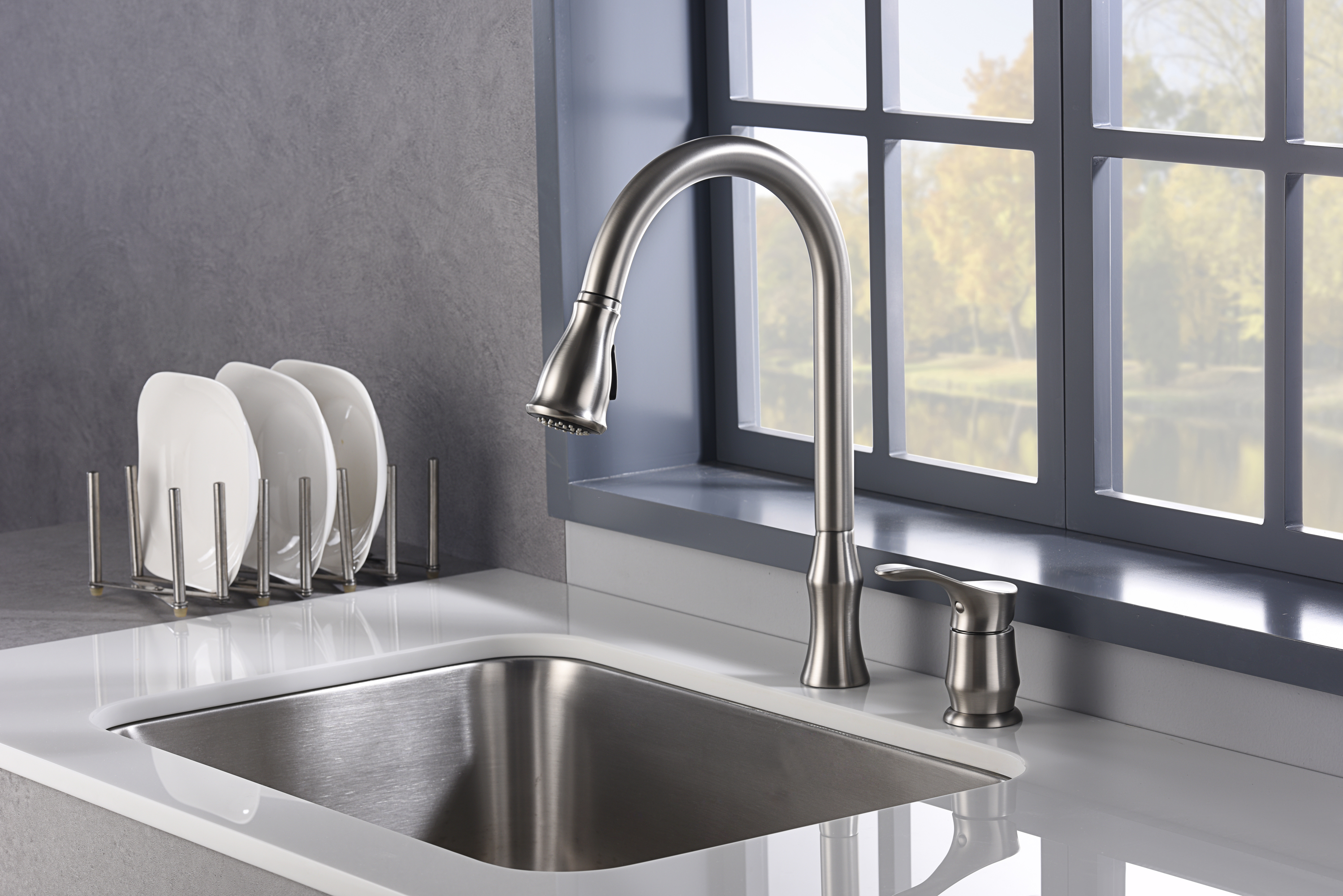 Karran Hillwood Single Lever Handle Lead-free Brass ADA Kitchen Faucet, Pull Down, Stainless Steel, KKF260SS
